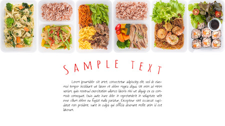 sushi, stir fried fish, fettuccine, roasted pork, grilled pork with eggs, and Shrimp and vermicelli baked with herbs cooked by clean food concept on white background with easy removable sample text Stock Photo - 43053543