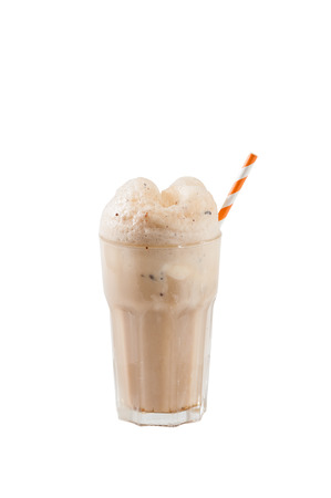 Root beer with vanilla ice cream isolated on white background with clipping path