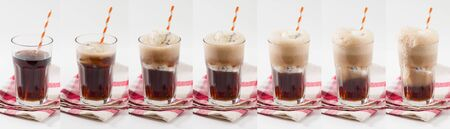 root beer: Collage image of Root beer with vanilla ice cream