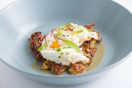 savory: Hash brown with Halloumi cheese and savory dressing