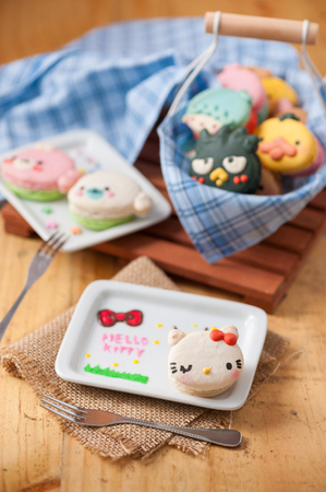 maru: CHIANGMAI, THAILAND - JANUARY 25, 2016:Sanrio and San-X cartoon macaron. Sanrio and San-X cartoon character including Hello Kitty, Badtz Maru, Mamegoma and more.
