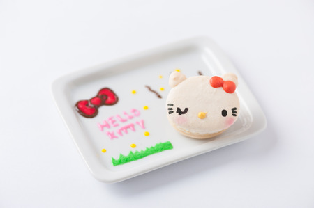 sugarcraft: CHIANGMAI, THAILAND - JANUARY 25, 2016:Hello Kitty macaron, Hello Kitty is a fictional character produced by the Japanese company Sanrio.