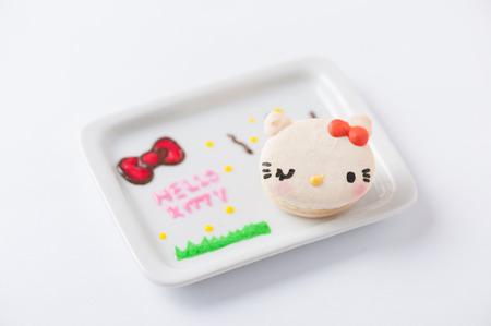 fictional character: CHIANGMAI, THAILAND - JANUARY 25, 2016:Hello Kitty macaron, Hello Kitty is a fictional character produced by the Japanese company Sanrio.