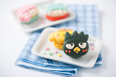 sugar cookie: CHIANGMAI, THAILAND - JANUARY 20, 2016:Badtz-maru macaron, Badtz-Maru, is one of Japanese corporation Sanrio character. Badtz-Maru has an attitude and is one of the few characters that is marketed to both males and females. Editorial