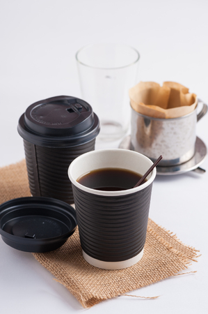 coffee filter: Take away paper coffee cup with metal coffee filter