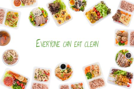 """""""Everyone can eat clean"""" is wriiten on white background with modern style cuisine cooked by clean food concept including European, Japanese, Thai, and Chinese food style in lunch box"""