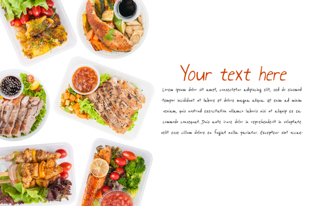 """Modern style cuisine cooked by clean food concept including European, Japanese, Thai, and Chinese food style in lunch box on white background with easy removable text """"lorem ipsum"""""""