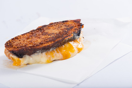 toasted: Toasted sandwich with various types of  cheese
