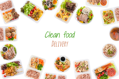 clean food: Clean food delivery is wriiten on white background with modern style cuisine cooked by clean food concept including European, Japanese, Thai, and Chinese food style in lunch box Stock Photo