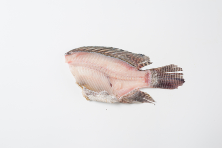 Tilapia (Tilapia Nilotica) fishbone on white background in studio. Organic food and eating concept