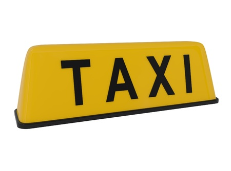 Taxi Sign isolated on white - 3d illustration illustration