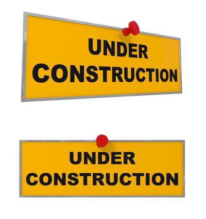 Under Construction sign isolated on white - 3d illustration illustration