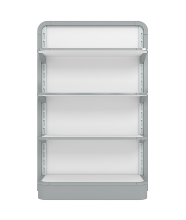 product display: Empty Supermarket Shelf - 3d illustration Stock Photo