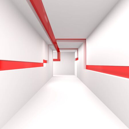 hospital corridor: Empty White Corridor - 3d illustration