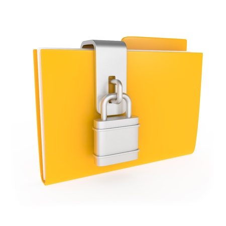 Protected Yellow Folder with lock isolated on white - 3d illustration illustration
