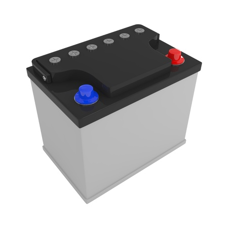 New Car Battery isolated on white - 3d illustration illustration