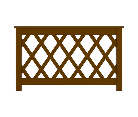 Wooden Railing with pattern isolated on white - 3d illustration illustration