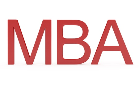 business administration: Red Word MBA - Master Of Business Administration isolated on white - 3d illustration
