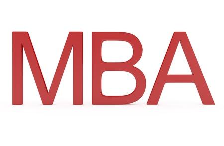 economia aziendale: Red Word MBA - Master of Business Administration isolato su bianco - 3d illustrazione Archivio Fotografico