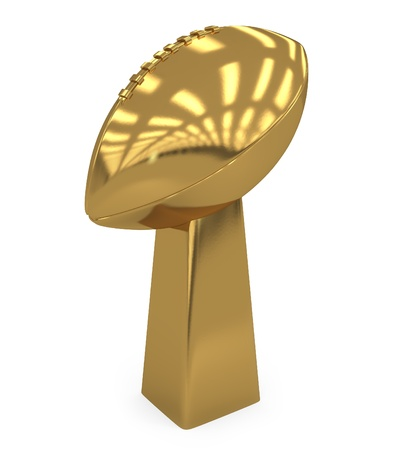 football trophy: School Footballl Golden Trophy isolated on white - 3d illustration
