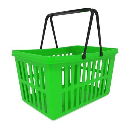 Empty Green Shopping Basket isolated on white - 3d illustration illustration