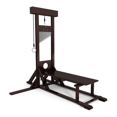 inquisition: Guillotine isoleted on white - 3d illustration