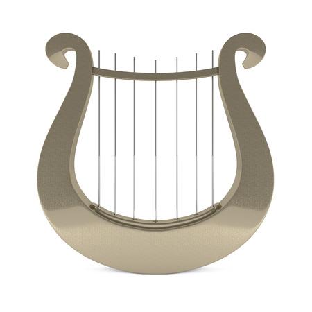 lyre: Musical instrument greek golden lyre harp - 3d illustration