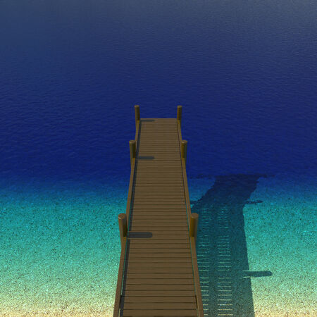 summer's: Dock beside sea on beautiful summers day - 3d illustration
