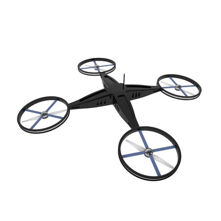 controlled: Remote Controlled Quadcopter Drone isolated on white - 3d illustration