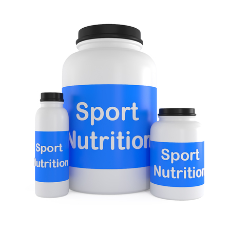 supplement: Sport Nutrition Supplement containers isolated on white - 3d illustration