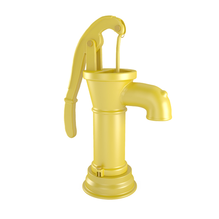 bomba de agua: Bomba amarillo retro del agua aislado en blanco - 3d ilustración