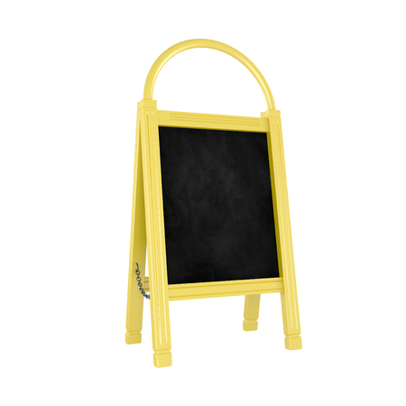 sidewalk cafe: Blank Yellow Menu Board isolated on white - 3d illustration Stock Photo