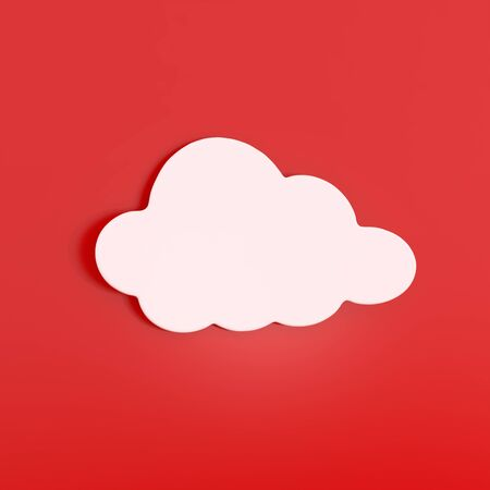 graphic display cards: White Cloud Sticker isolated on Red - 3d illustration