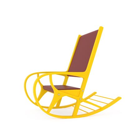 single seat: Orange Rocking Chair isolated on white - 3d illustration Stock Photo
