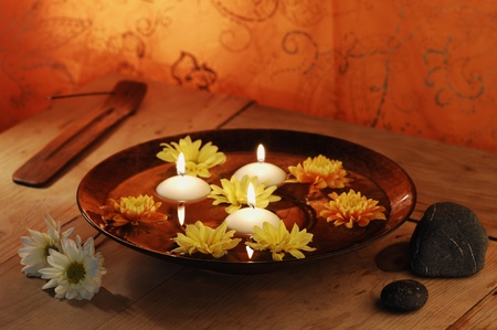 aroma bowl: Aroma Bowl With Candles, Flowers, Stones And Joss Stick