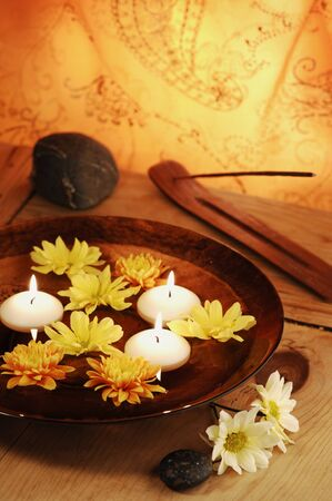 Aroma Bowl With Candles, Flowers, Stones And Joss Stick photo