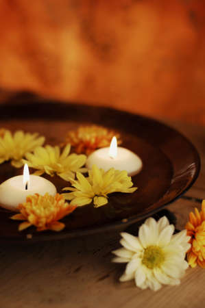 Close Up Of Aroma Bowl With Candles And Flowers Stock Photo - 19019724