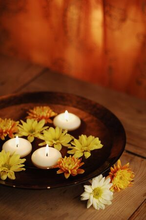 Aroma Bowl With Candles And Flowers Stock Photo - 19019727