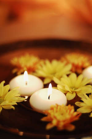 Aroma Bowl With Candles And Flowers Stock Photo - 19019680