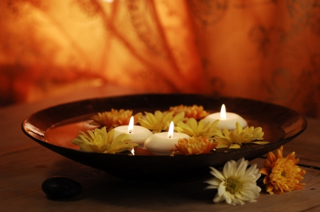 Aroma Bowl With Candles And Flowers  photo