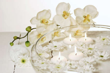 Aromatherapy bowl with white orchids Stock Photo - 19019722