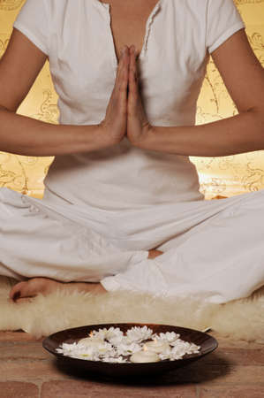 Aromabowl in front of a meditating woman Stock Photo - 19019735