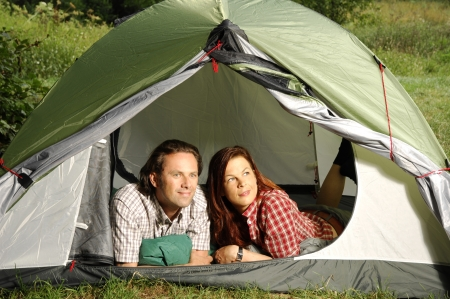 picknic: Couple lying in tent