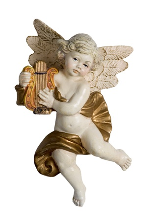 Harp playing Putto, isolated on white