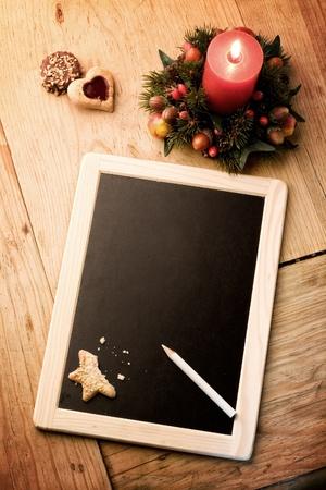 wishlist: Christmas wishlist - copy space for adding text on slate Stock Photo