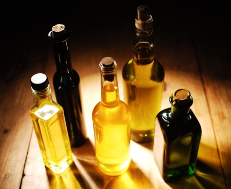 cooking oil: Variety of Cooking Oils standing on the table Stock Photo
