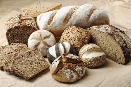 different sorts of wholemeal breads and rolls, selective focus Stock Photo