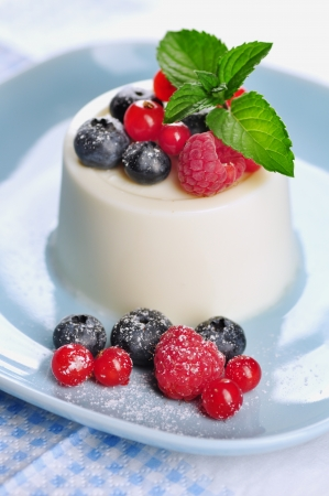 cotta: Panna cotta with fruits and mint, selective focus