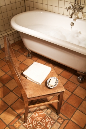 Bathroom Scene With Oldfashioned Claw Foot Tub Stock Photo, Picture ...