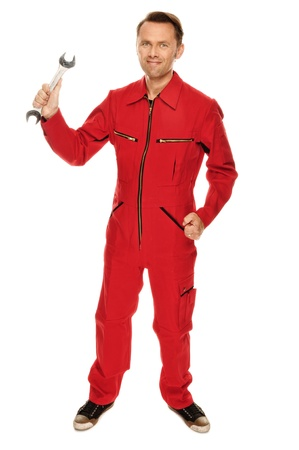 overall: Mec?nico en guardapolvo rojo